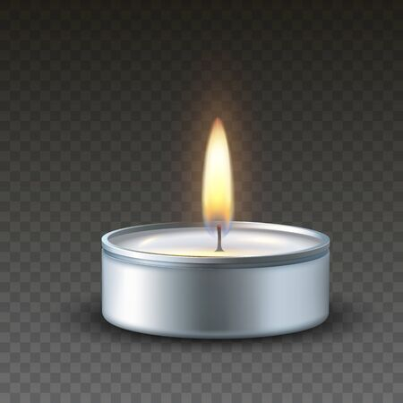 Realistic vector 3d burning tea candle on a dark background. Tealight or burning candlelight for Happy Diwali festival, birthday greeting card design or wedding decoration..