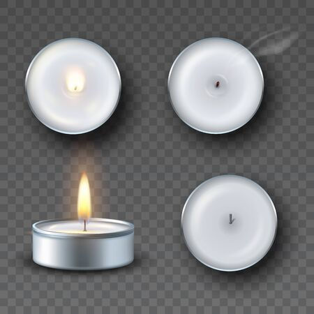 Realistic tea candle with fire, extinguished candle with smog and candle fire set isolated on transparent background.