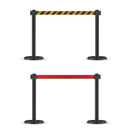 Red and striped hazard fencing tape. Dark matte stand