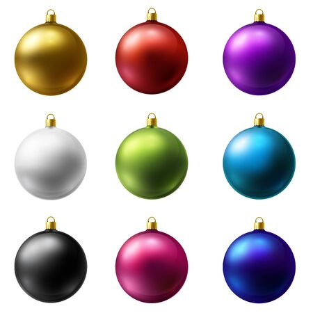 Realistic Christmas Holiday Balls isolated on a white background. Matted glass. Stock Vector - 132762762