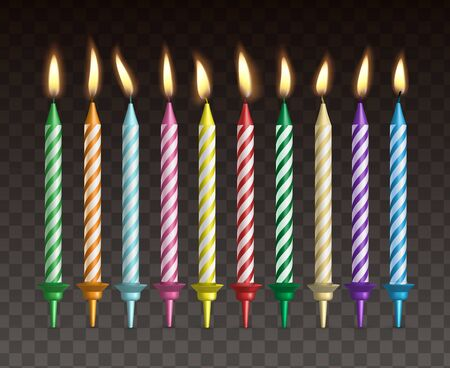 Candles for cake. Realistic vector set of burning colorful striped candles Illustration