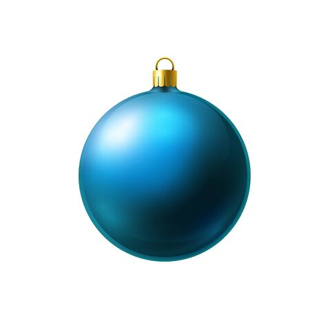 Light blue christmas ball made of frosted glass isolated on white background.