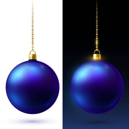 Realistic blue matte Christmas balls hanging on gold beads chains.
