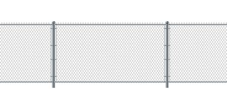 Chain link fence seamless. Metal Wire Fence. Wire grid construction steel security and safety wall. Vettoriali