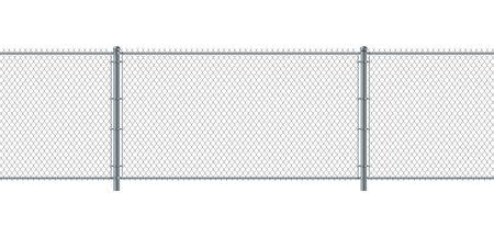 Recinto di collegamento a catena senza soluzione di continuità. Recinto di filo metallico. Muro di sicurezza e sicurezza in acciaio da costruzione con griglia metallica.