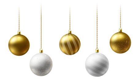 Realistic gold and white Christmas balls hanging on gold beads chains on white background Illustration