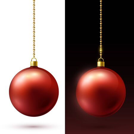 Realistic red matte Christmas balls hanging on gold beads chains. Black and white background