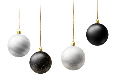 Realistic black and white Christmas balls hanging on gold beads chains on white background. New Year background.