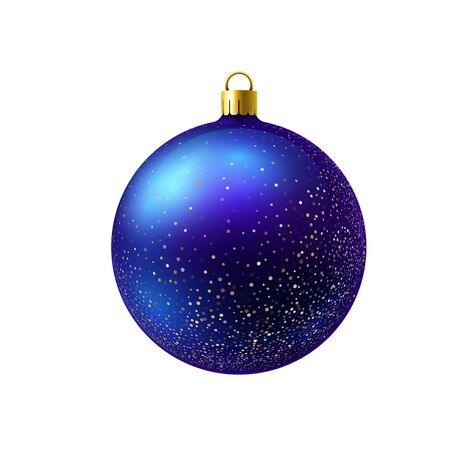 Blue christmas ball with gold sparkles isolated on white background. Realistic vector.