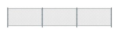 Chain link fence. Metal Wire Fence. Wire grid construction Illustration