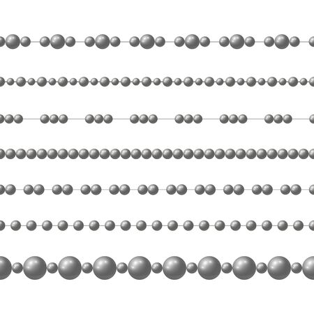 Gray realistic steel bead chain. Vector set of realistic seamless pattern Illustration