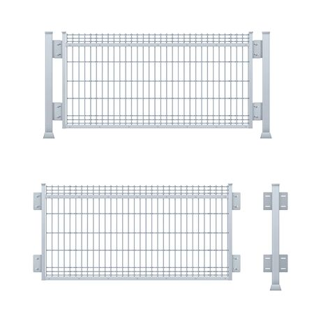 Realistic vector galvanized sheet metal fence panel. Stock Vector - 133277548