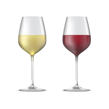 Red and white wine in glass goblets isolated on white background. Illustration