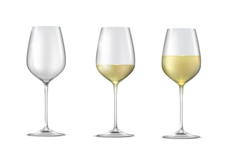 Realistic vector set of glasses with white wine