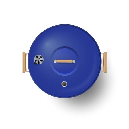 Round blue closed barbecue grill top view realistic vector illustration. Иллюстрация