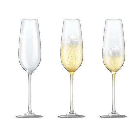 Realistic vector set of sparkling champagne glasses. Empty glass, full and half full champagne glass. Ilustração