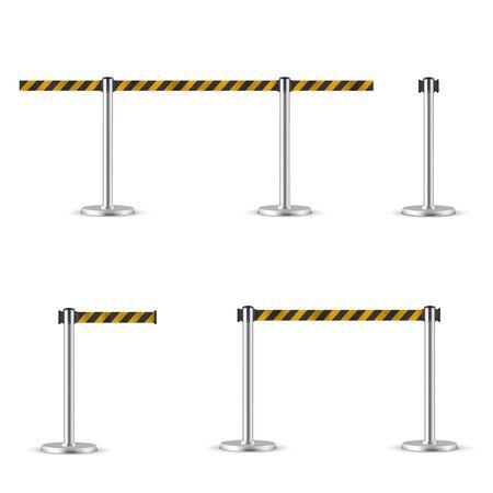 Retractable belt stanchion set, portable ribbon barrier. Ilustração