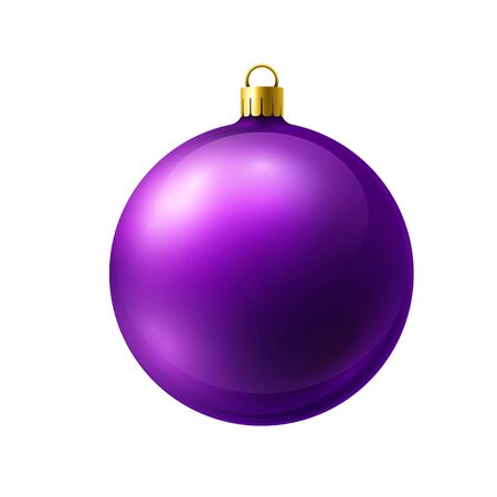 Violet christmas ball made of frosted glass isolated on white background. Ilustração