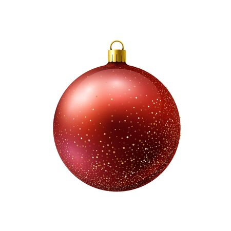 Red christmas ball with gold sparkles isolated on white background