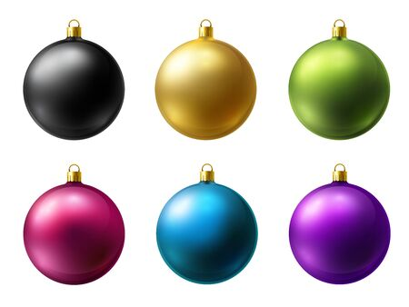 Realistic matt colored Christmas balls vector set on a white background