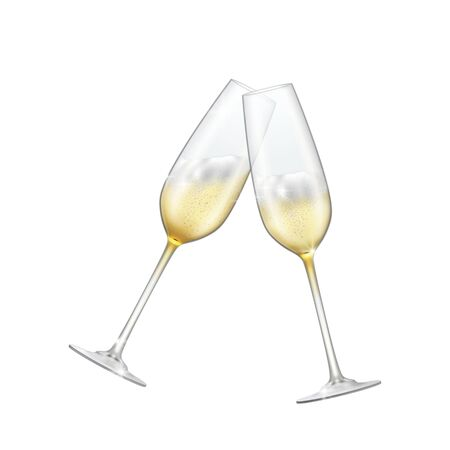 Two glasses of champagne crossed on a white background sparkling champagne Foto de archivo - 134861015
