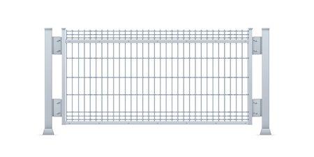 Realistic vector galvanized sheet metal fence panel. Rectangular steel mesh V type.