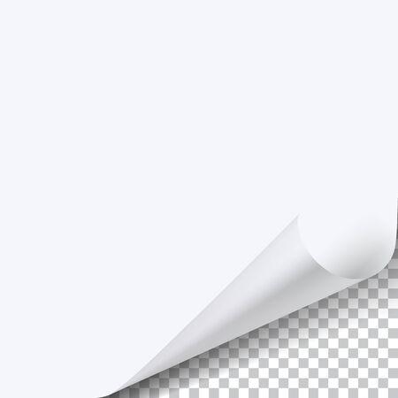 Foglio di carta ad angolo arricciato con ombra su sfondo trasparente.