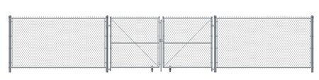 Realistic metal wire fence and gate. Prison barrier or security fence. Ilustração