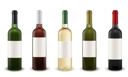 Set vettoriale realistico di bottiglie di vino di vari colori di vetro. Vettoriali