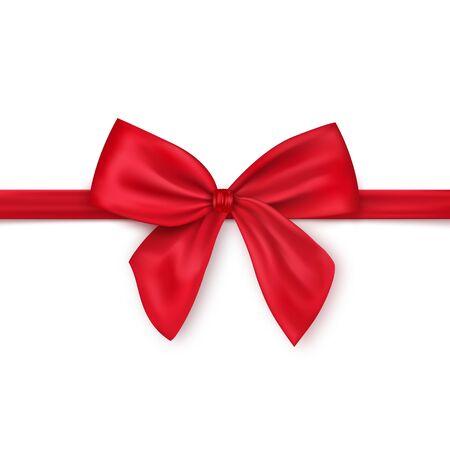 Ruban rouge satiné brillant puis avec un arc sur une illustration vectorielle réaliste de fond blanc