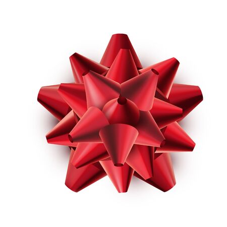 Red shiny gift bow isolated on white background. Festive vector illustration