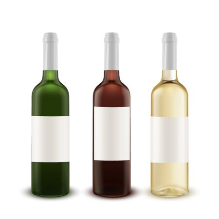 Realistic vector set of wine bottles of various colors of glass. Illustration