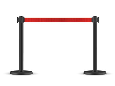 Retractable belt stanchion. Portable ribbon barrier. Red fencing tape. Illustration