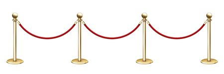 Realistic vector golden rope barriers. VIP event, luxury celebration.