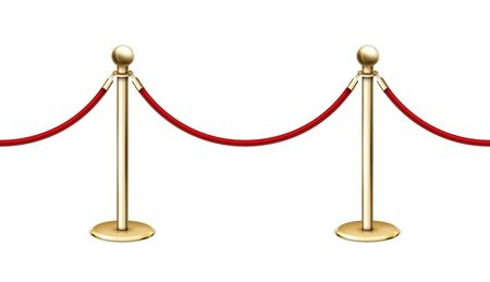 Vector realistic seamless golden barrier rope barrier in a row with red velvet rope Illustration