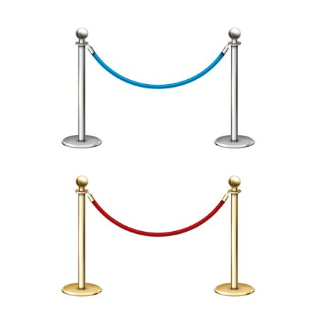 Gold and silver rope barrier. 3D realistic vector illustration on a white background.