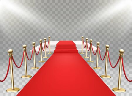Red carpet event with three-step podium. Gold queue rope barriers posts stands. Realistic spotlights Stock Illustratie