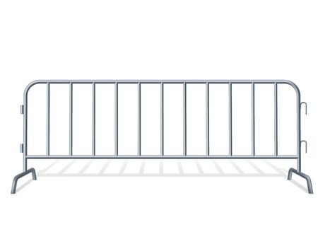 Portable steel fence. Steel construction element.Realistic detailed illustration on a white background Stock Illustratie