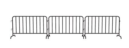 Urban portable steel barrier. Black silhouette of a barrier fence on a white background. Perspective view Иллюстрация