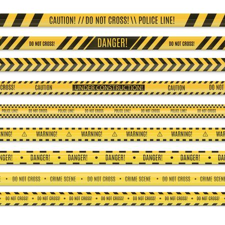 Realistic seamless set of police line and danger tapes. Stock Illustratie