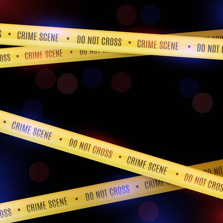 Police background with yellow police tapes. Crime scene. Stock Illustratie