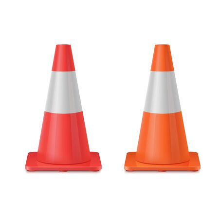Red and orange realistic road plastic cone white striped shiny cones.