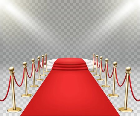 Red carpet event with three-step podium. Gold queue rope barriers posts stands. Stock Illustratie