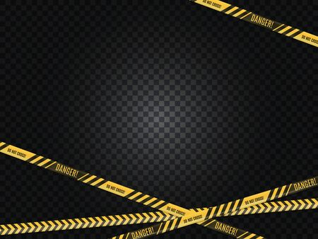 Police lines. Crime scene. Danger warning. Tape fence. No entry. Stock Illustratie