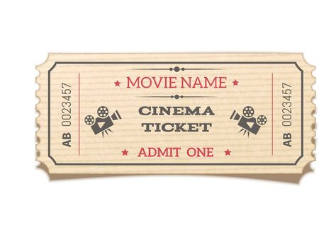 Realistic retro movie ticket isolated on white background. Top view.