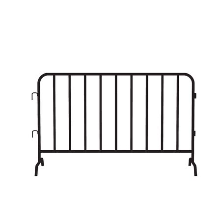 Urban portable steel barrier. Black silhouette of a barrier fence on a white background Stock Illustratie