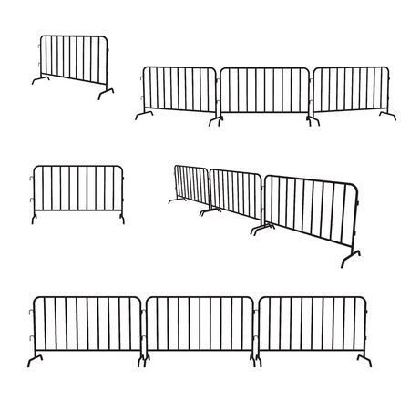 Urban portable steel barrier. Black silhouette of a barrier fence on a white background. Vector set.