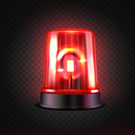 Realistic red led flasher. Red lights. Transparent beacon for emergency situations. Illustration on a dark background. Stock Illustratie