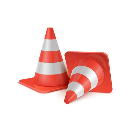 Realistic vector set of plastic road cones in various positions.