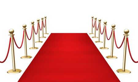 Red carpet with golden barrier fencing realistic 3d vector illustration on white background.